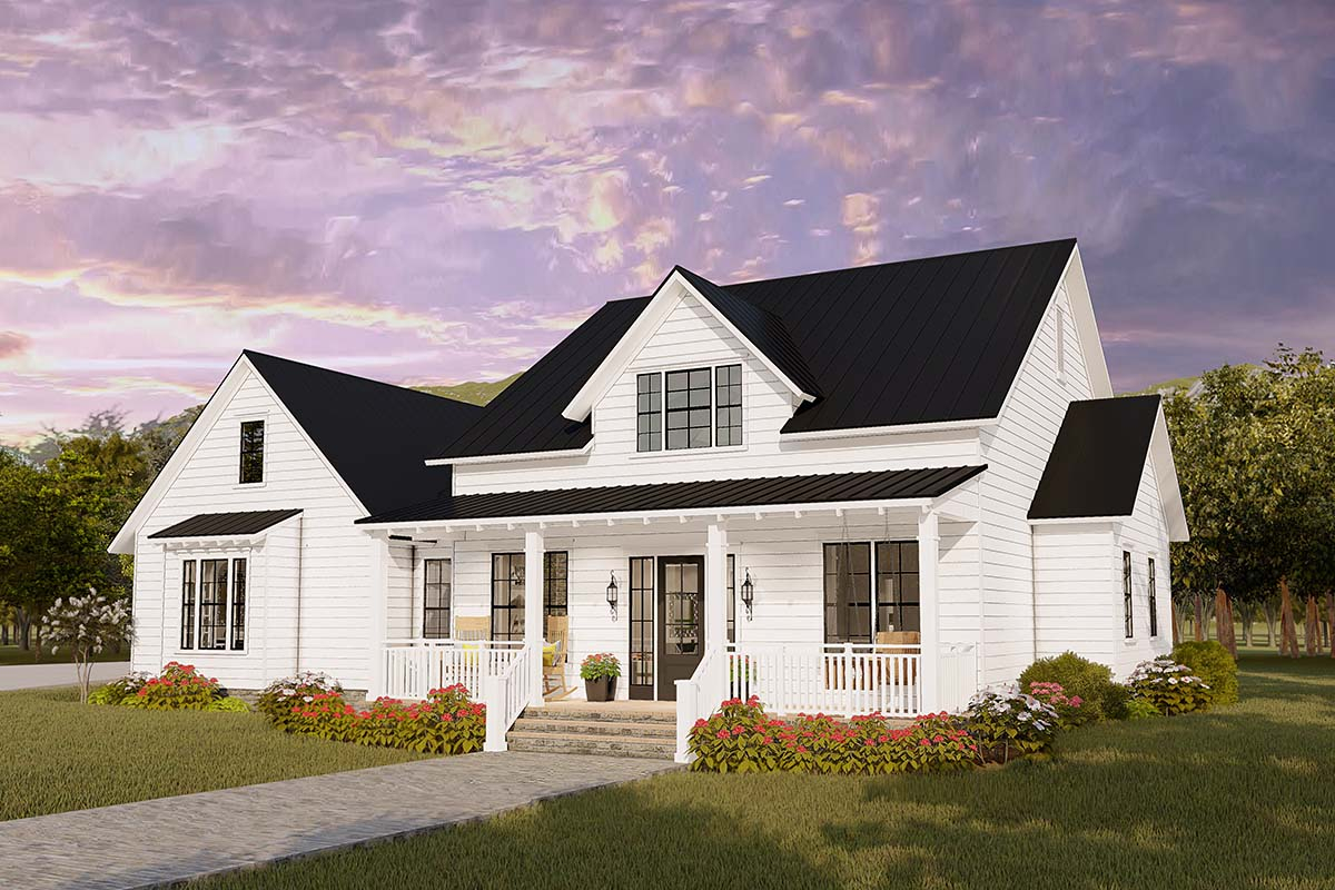 Cottage, Country, Craftsman, Farmhouse, Ranch, Southern, Traditional Plan with 2480 Sq. Ft., 4 Bedrooms, 2 Bathrooms, 2 Car Garage Picture 2