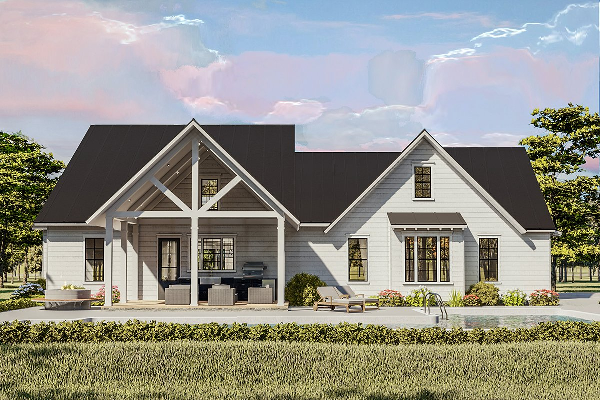 Cottage, Country, Craftsman, Farmhouse, Ranch, Southern, Traditional Plan with 2480 Sq. Ft., 4 Bedrooms, 2 Bathrooms, 2 Car Garage Rear Elevation