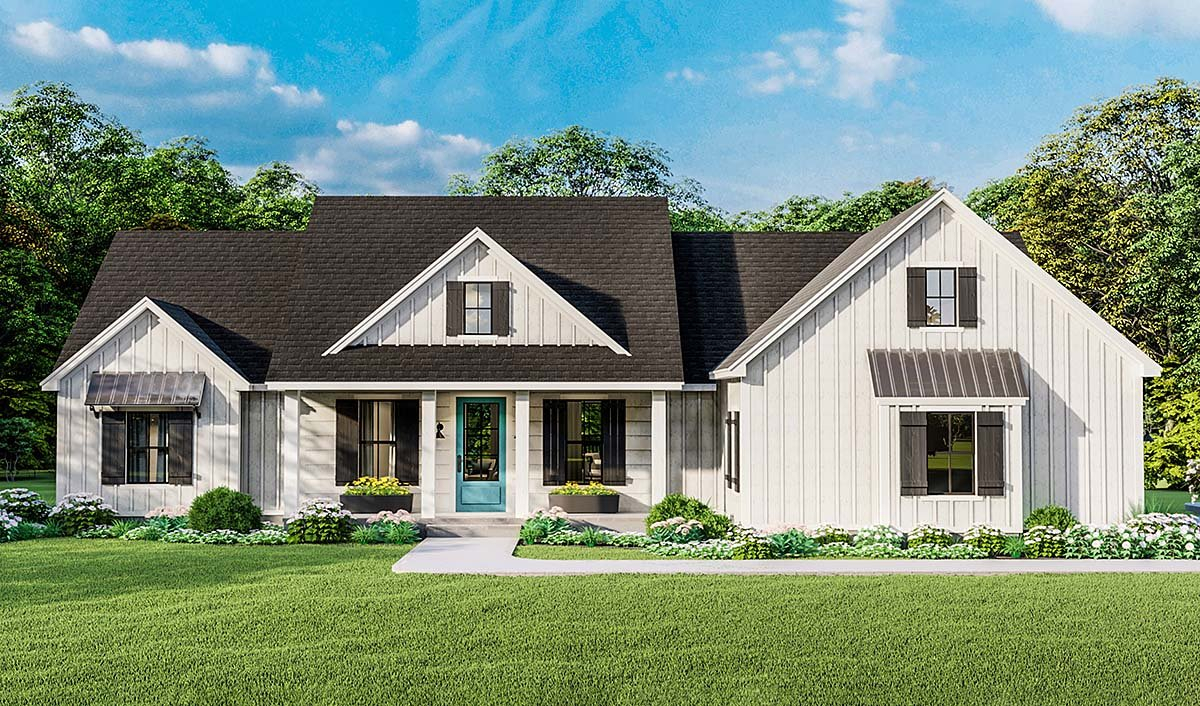 Country, Farmhouse, Ranch, Southern Plan with 1971 Sq. Ft., 4 Bedrooms, 2 Bathrooms, 2 Car Garage Elevation