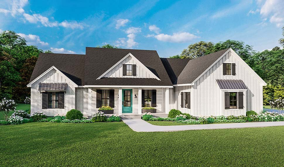 Country, Farmhouse, Ranch, Southern Plan with 1971 Sq. Ft., 4 Bedrooms, 2 Bathrooms, 2 Car Garage Picture 4