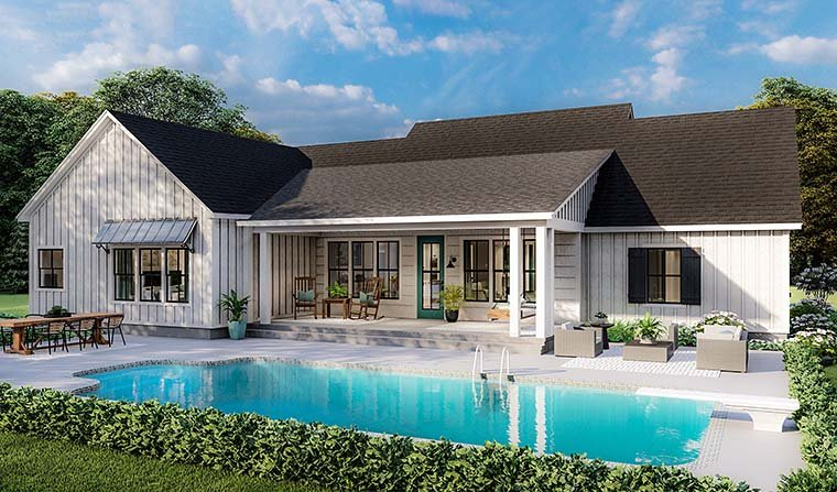 Country, Farmhouse, Ranch, Southern Plan with 1971 Sq. Ft., 4 Bedrooms, 2 Bathrooms, 2 Car Garage Picture 6