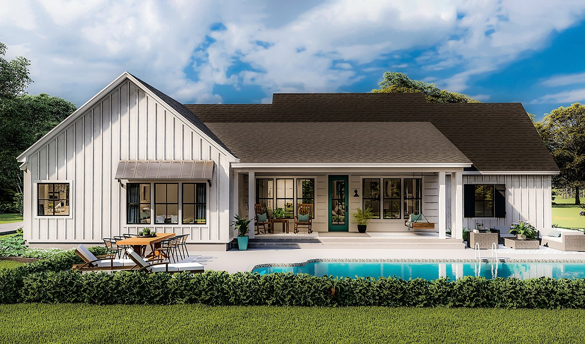 Country, Farmhouse, Ranch, Southern Plan with 1971 Sq. Ft., 4 Bedrooms, 2 Bathrooms, 2 Car Garage Rear Elevation