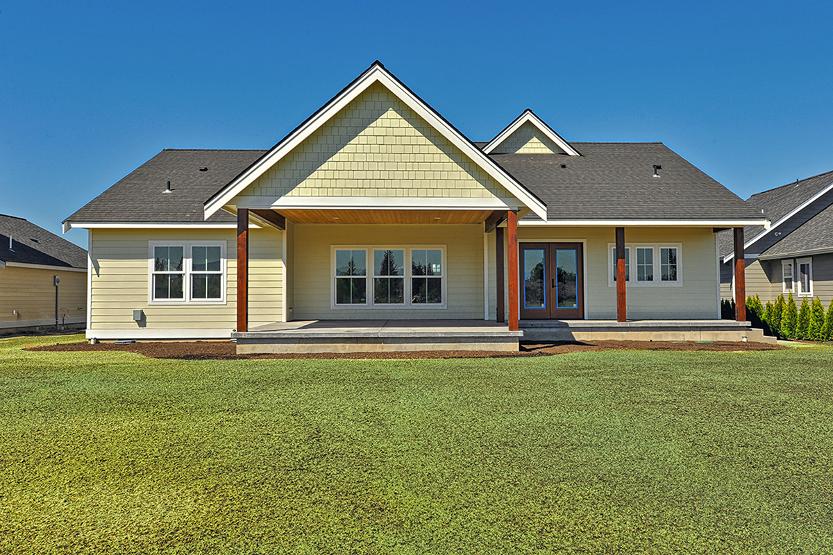 Country, Craftsman, Ranch, Traditional Plan with 2245 Sq. Ft., 3 Bedrooms, 2 Bathrooms, 2 Car Garage Rear Elevation