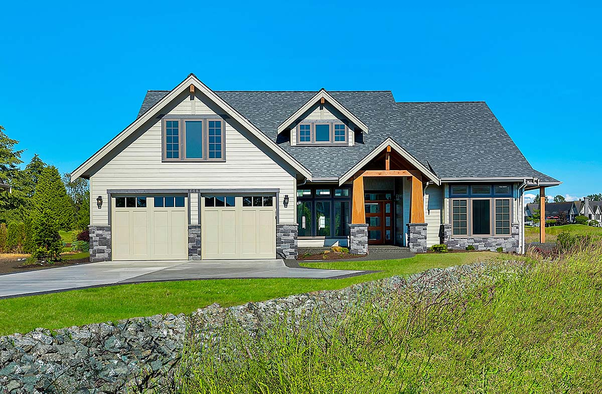 Country, Craftsman, Farmhouse Plan with 2939 Sq. Ft., 3 Bedrooms, 3 Bathrooms, 2 Car Garage Elevation