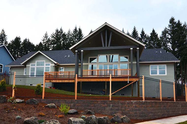 Country, Craftsman, Traditional Plan with 3159 Sq. Ft., 3 Bedrooms, 3 Bathrooms, 3 Car Garage Rear Elevation