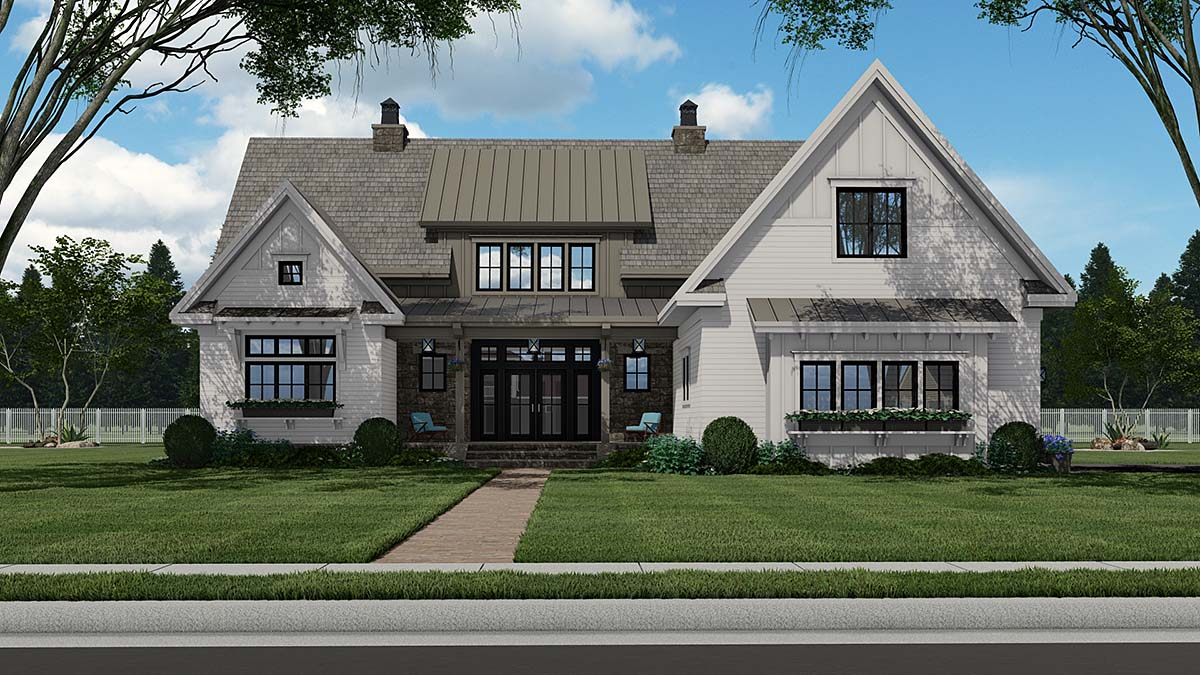 Country Plan with 3319 Sq. Ft., 4 Bedrooms, 5 Bathrooms, 2 Car Garage Elevation
