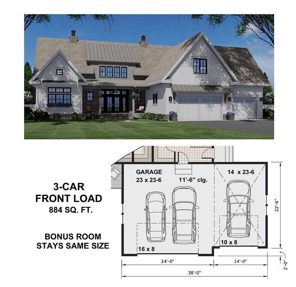 Country Plan with 3319 Sq. Ft., 4 Bedrooms, 5 Bathrooms, 2 Car Garage Picture 8