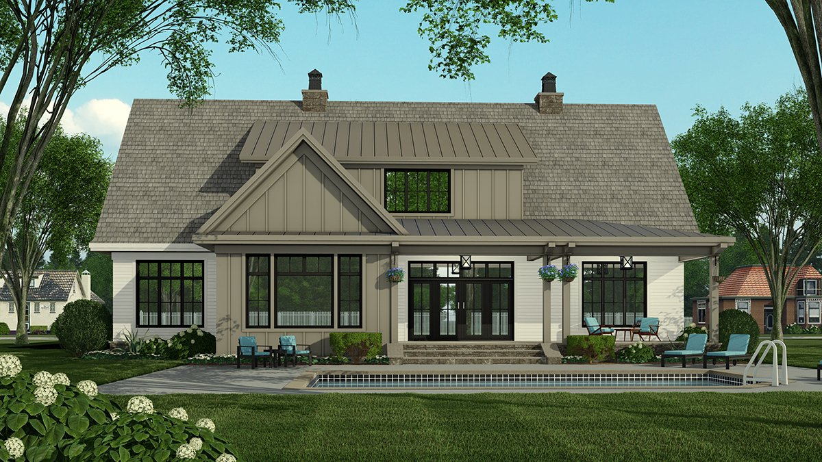 Country Plan with 3319 Sq. Ft., 4 Bedrooms, 5 Bathrooms, 2 Car Garage Rear Elevation