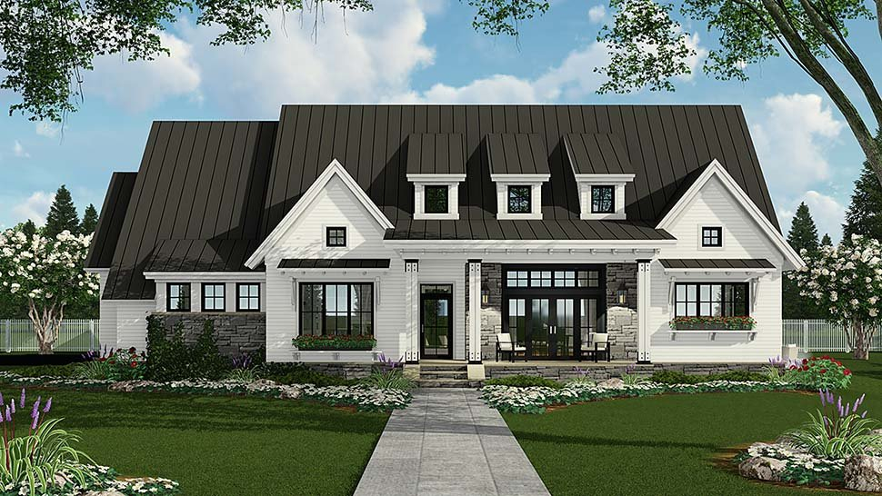 Country, Farmhouse, Traditional Plan with 2287 Sq. Ft., 3 Bedrooms, 3 Bathrooms, 2 Car Garage Elevation