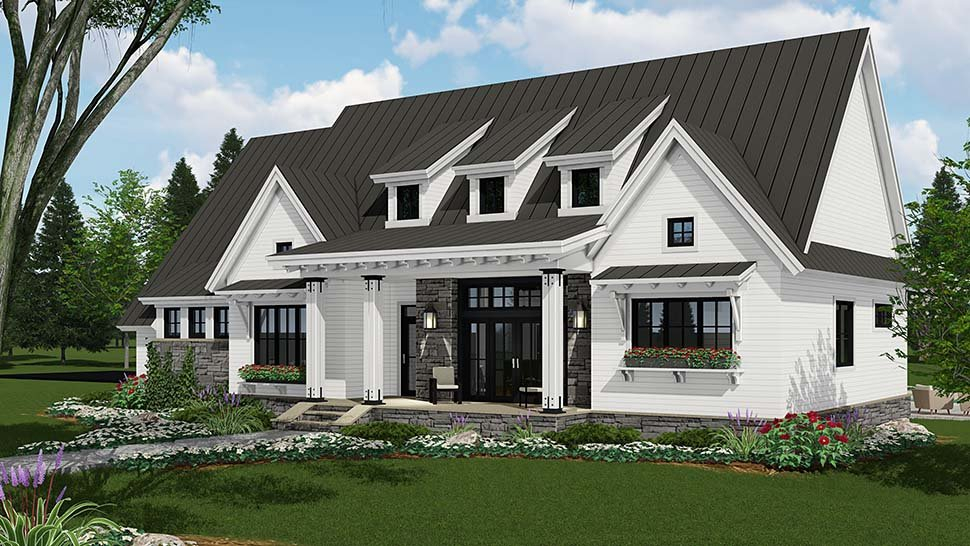 Country, Farmhouse, Traditional Plan with 2287 Sq. Ft., 3 Bedrooms, 3 Bathrooms, 2 Car Garage Picture 2