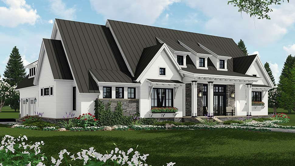 Country, Farmhouse, Traditional Plan with 2287 Sq. Ft., 3 Bedrooms, 3 Bathrooms, 2 Car Garage Picture 3