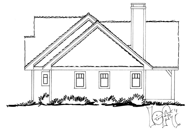 Craftsman, Ranch Plan with 1416 Sq. Ft., 3 Bedrooms, 2 Bathrooms Picture 2