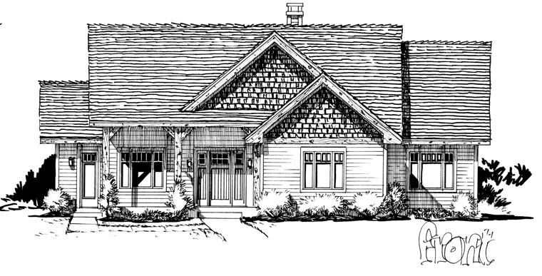 Craftsman, Ranch Plan with 1416 Sq. Ft., 3 Bedrooms, 2 Bathrooms Picture 4