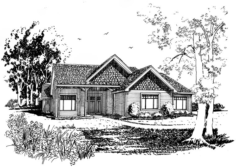 Craftsman, Ranch Plan with 1416 Sq. Ft., 3 Bedrooms, 2 Bathrooms Picture 5