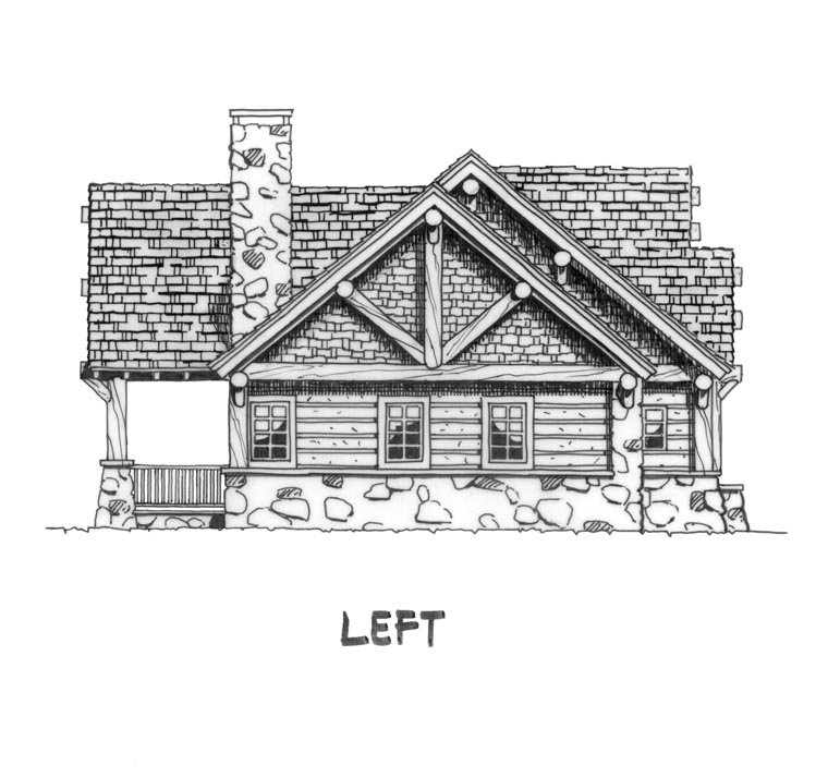 Cabin, Craftsman, Log Plan with 1416 Sq. Ft., 3 Bedrooms, 2 Bathrooms Picture 2