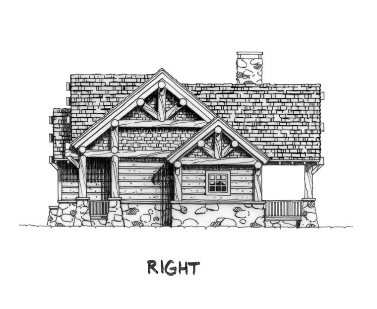 Cabin, Craftsman, Log Plan with 1416 Sq. Ft., 3 Bedrooms, 2 Bathrooms Picture 3