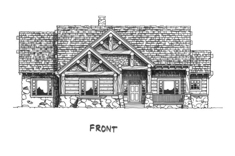 Cabin, Craftsman, Log Plan with 1416 Sq. Ft., 3 Bedrooms, 2 Bathrooms Picture 4