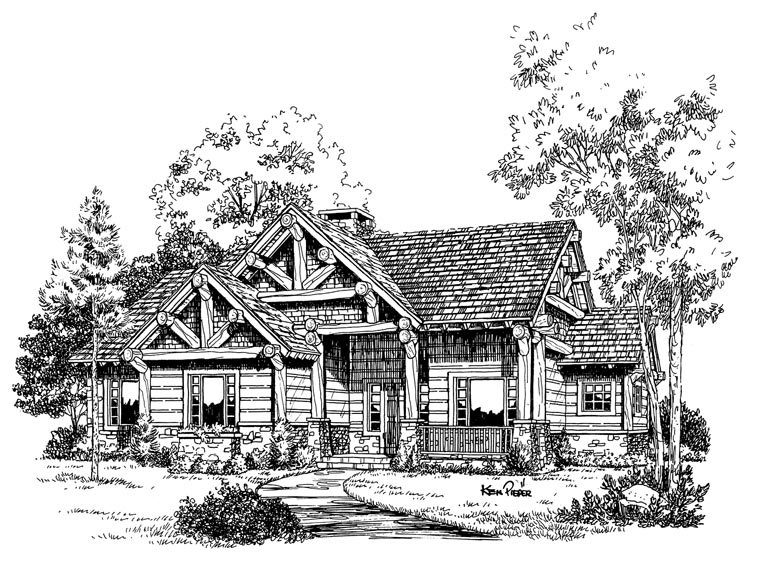 Cabin, Craftsman, Log Plan with 1416 Sq. Ft., 3 Bedrooms, 2 Bathrooms Picture 5