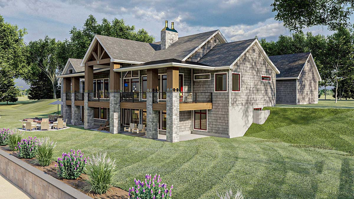 Bungalow, Cottage, Craftsman Plan with 2135 Sq. Ft., 2 Bedrooms, 3 Bathrooms, 4 Car Garage Picture 3