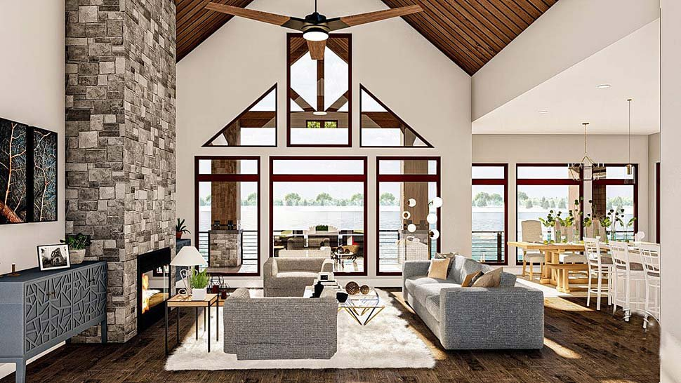 Bungalow, Cottage, Craftsman Plan with 2135 Sq. Ft., 2 Bedrooms, 3 Bathrooms, 4 Car Garage Picture 7