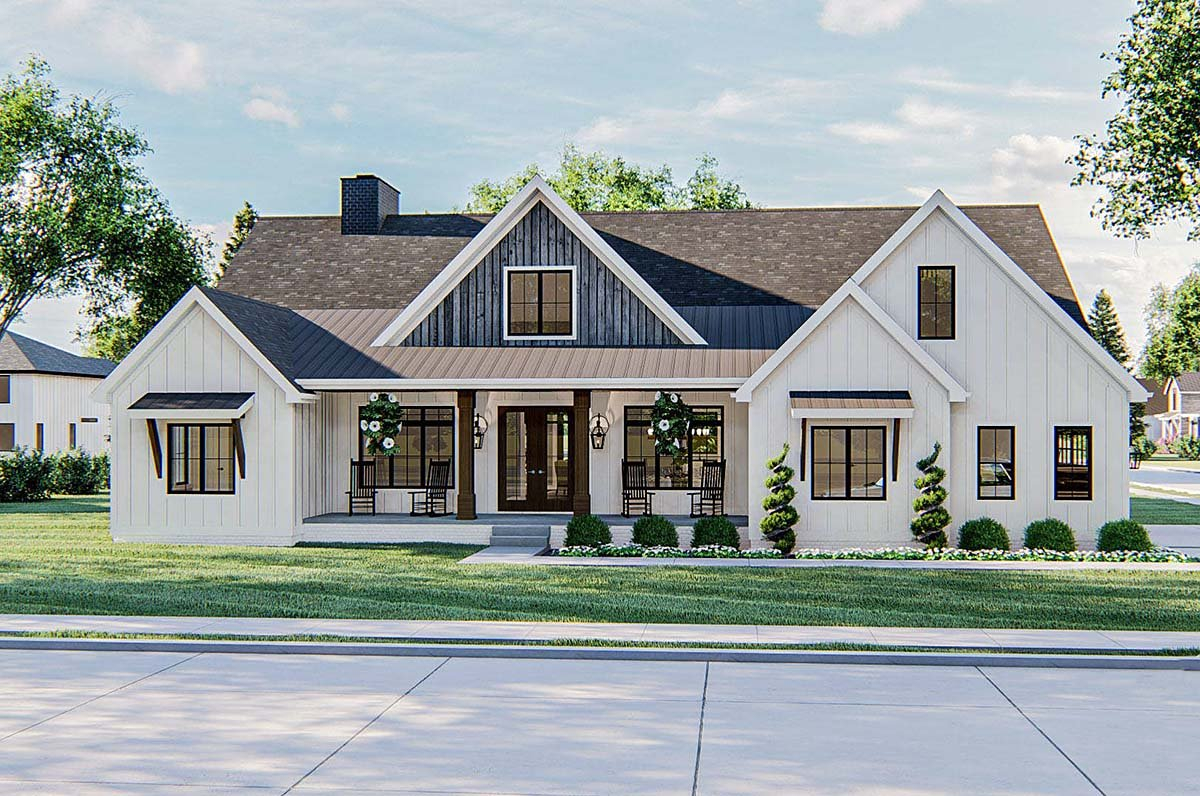 Farmhouse Plan with 2461 Sq. Ft., 4 Bedrooms, 3 Bathrooms, 2 Car Garage Elevation