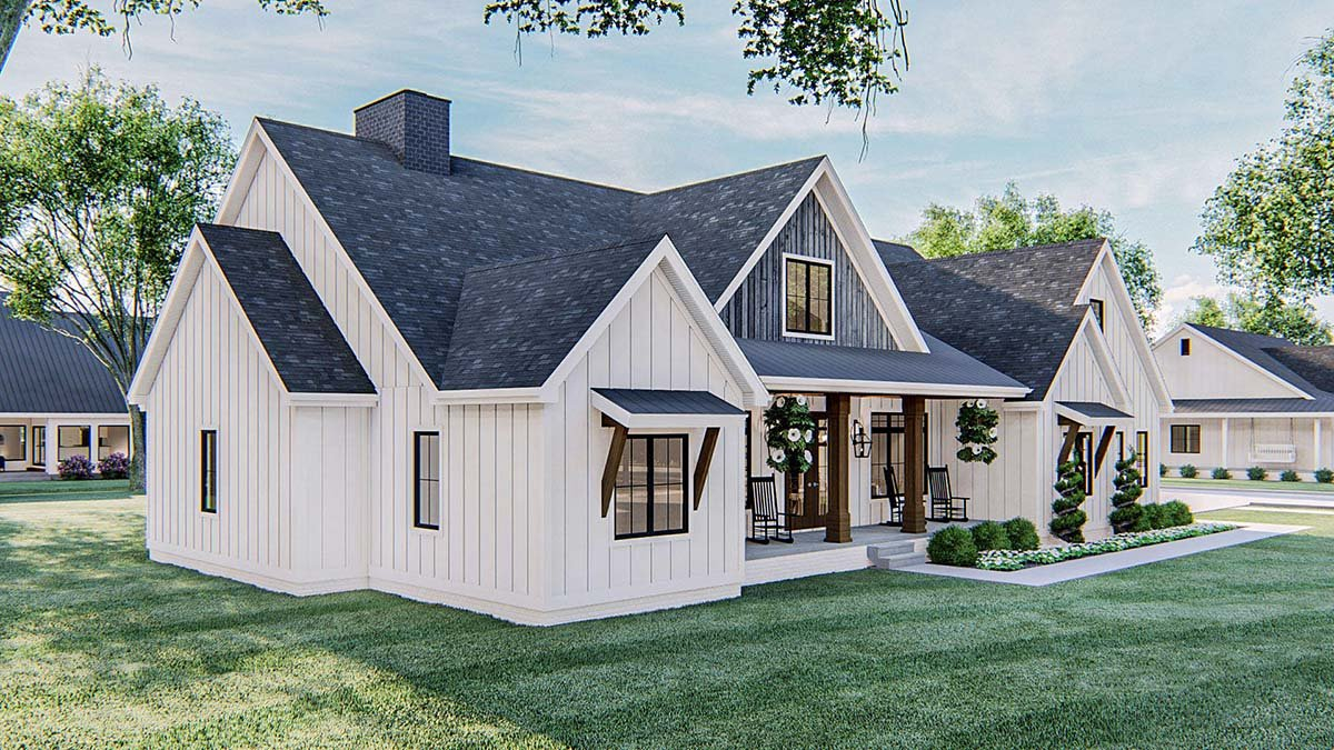 Farmhouse Plan with 2461 Sq. Ft., 4 Bedrooms, 3 Bathrooms, 2 Car Garage Picture 3
