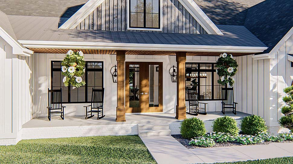Farmhouse Plan with 2461 Sq. Ft., 4 Bedrooms, 3 Bathrooms, 2 Car Garage Picture 4