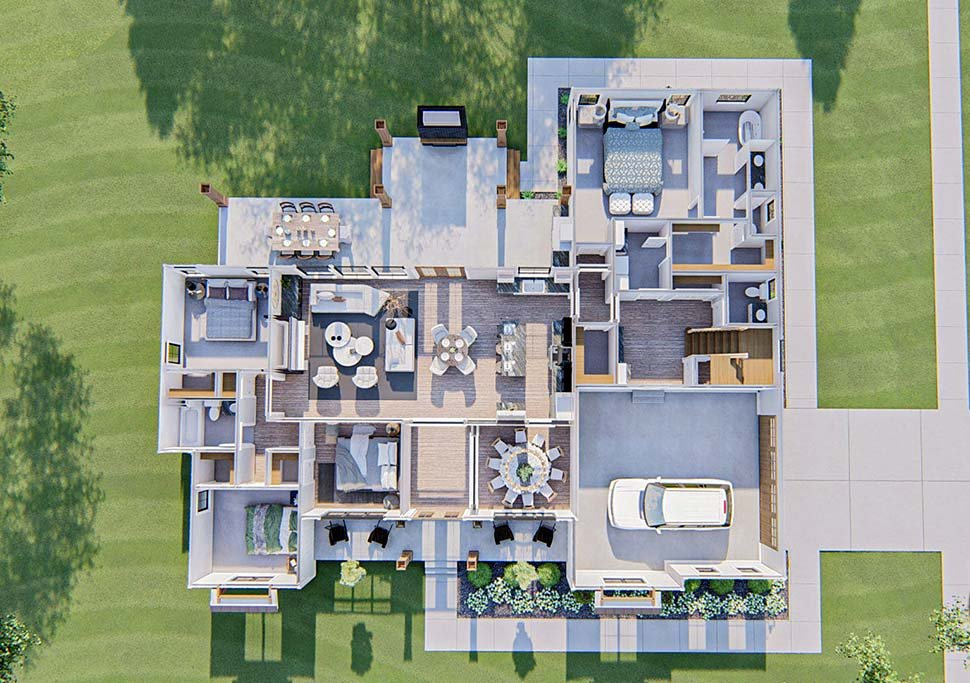 Farmhouse Plan with 2461 Sq. Ft., 4 Bedrooms, 3 Bathrooms, 2 Car Garage Picture 9