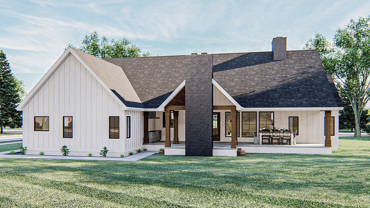 Farmhouse Plan with 2461 Sq. Ft., 4 Bedrooms, 3 Bathrooms, 2 Car Garage Rear Elevation