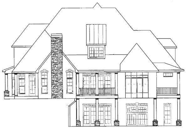 European, Traditional Plan with 4012 Sq. Ft., 4 Bedrooms, 5 Bathrooms, 2 Car Garage Rear Elevation