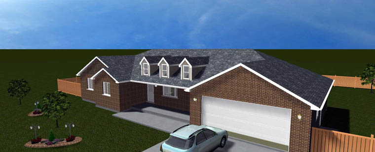 Plan with 3709 Sq. Ft., 5 Bedrooms, 4 Bathrooms, 2 Car Garage Picture 6