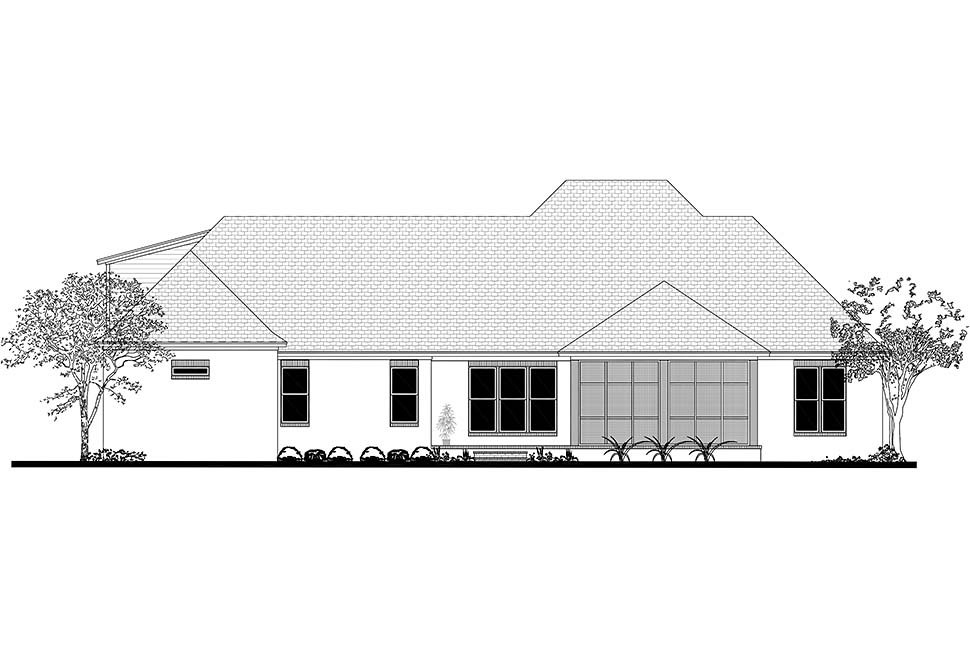 French Country, Southern Plan with 2854 Sq. Ft., 3 Bedrooms, 2 Bathrooms, 3 Car Garage Rear Elevation