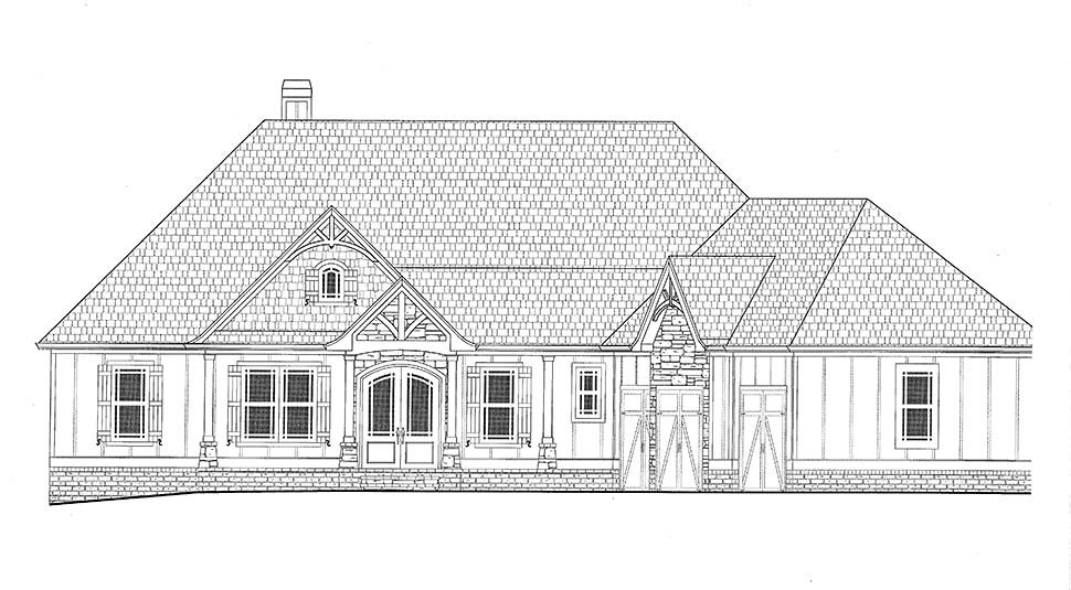 Country, Craftsman, French Country Plan with 3938 Sq. Ft., 4 Bedrooms, 4 Bathrooms, 3 Car Garage Picture 16
