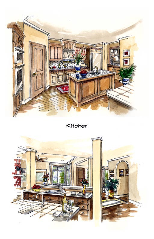 Mediterranean, Southwest Plan with 2885 Sq. Ft., 3 Bedrooms, 3 Bathrooms, 3 Car Garage Picture 3