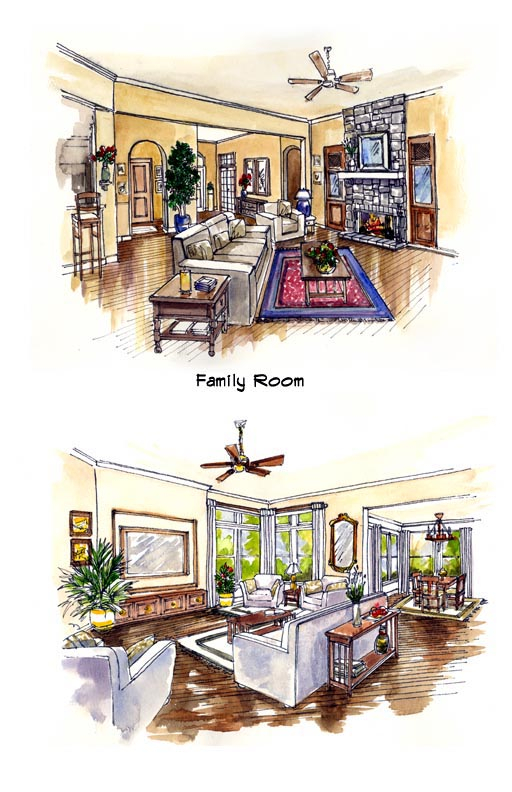 Mediterranean, Southwest Plan with 2885 Sq. Ft., 3 Bedrooms, 3 Bathrooms, 3 Car Garage Picture 4