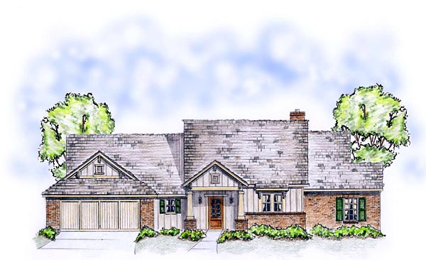 Craftsman, Traditional Plan with 1850 Sq. Ft., 3 Bedrooms, 2 Bathrooms, 2 Car Garage Picture 2