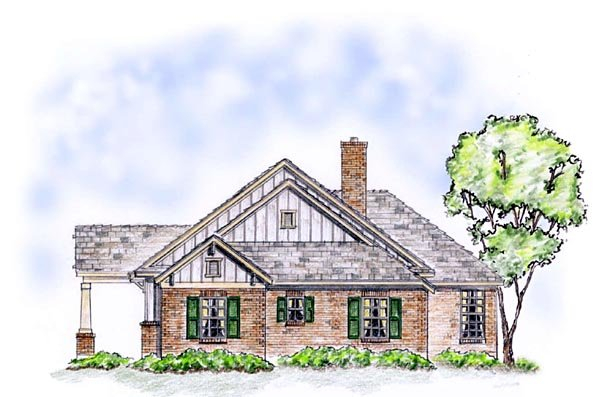 Craftsman, Traditional Plan with 1850 Sq. Ft., 3 Bedrooms, 2 Bathrooms, 2 Car Garage Picture 3