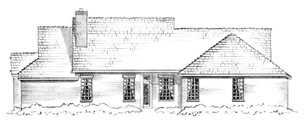 Craftsman, Traditional Plan with 1850 Sq. Ft., 3 Bedrooms, 2 Bathrooms, 2 Car Garage Rear Elevation