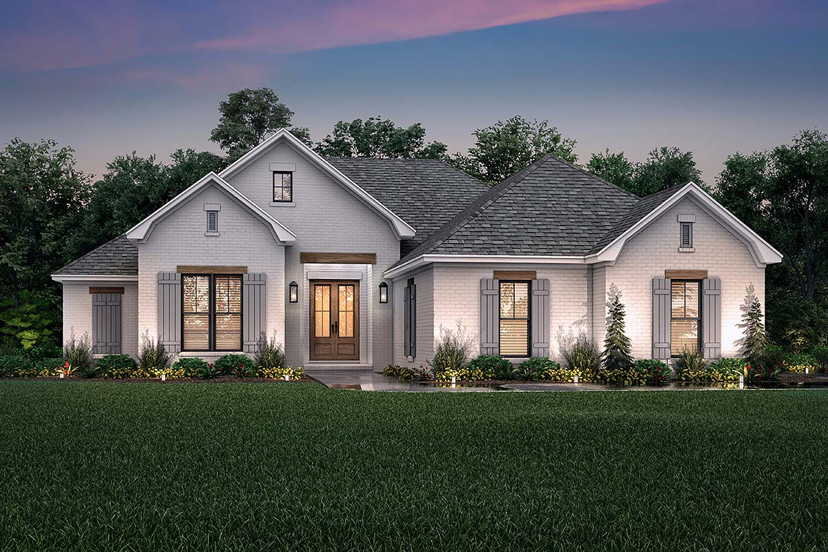 Country, French Country, One-Story, Traditional Plan with 1817 Sq. Ft., 3 Bedrooms, 2 Bathrooms, 2 Car Garage Elevation