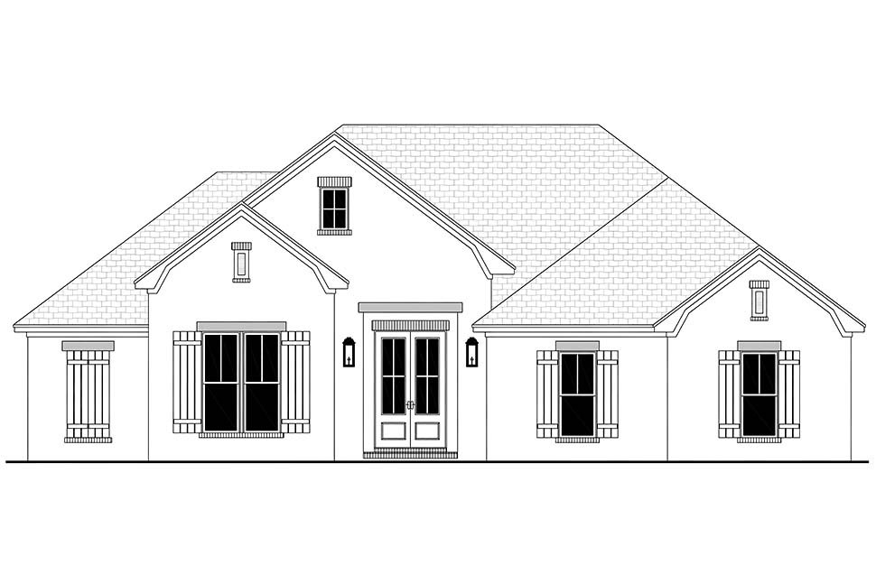 Country, French Country, One-Story, Traditional Plan with 1817 Sq. Ft., 3 Bedrooms, 2 Bathrooms, 2 Car Garage Picture 4