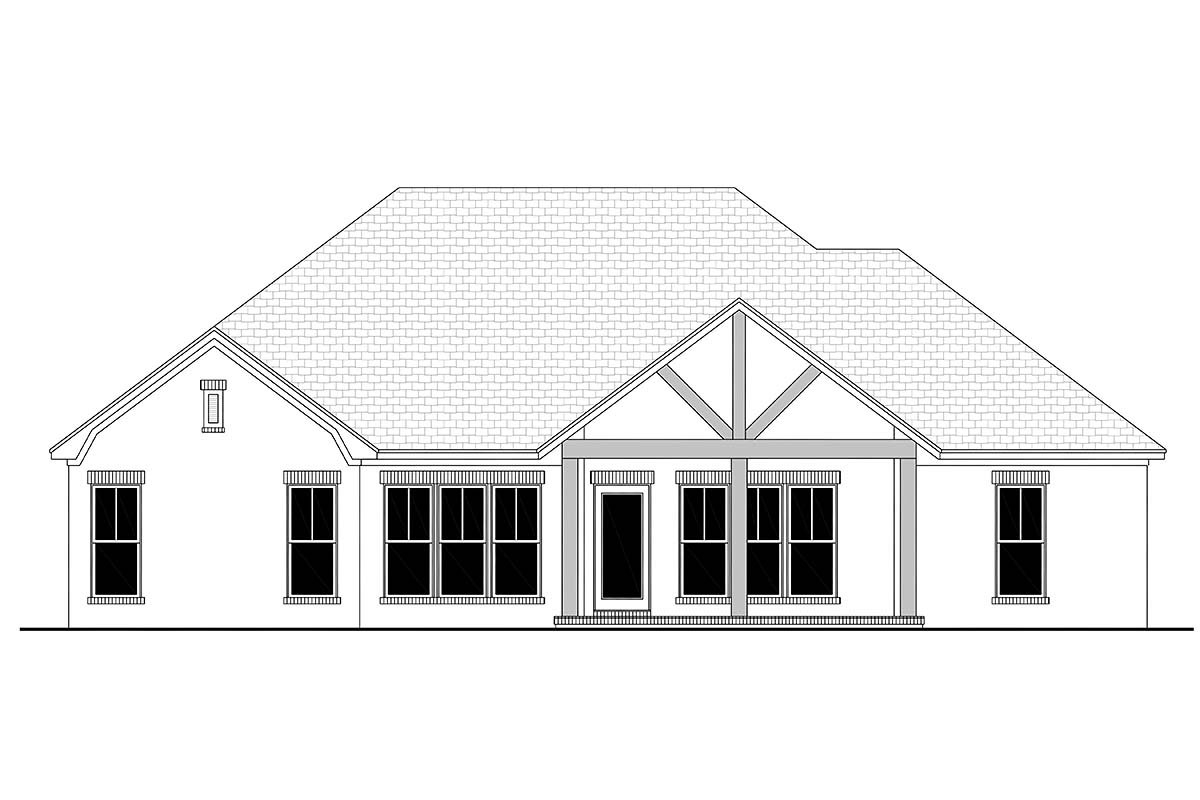 Country, French Country, One-Story, Traditional Plan with 1817 Sq. Ft., 3 Bedrooms, 2 Bathrooms, 2 Car Garage Rear Elevation