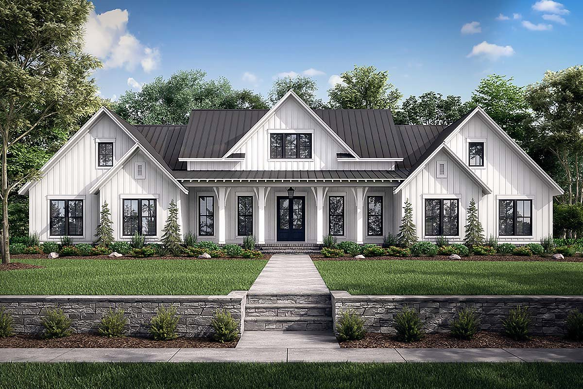 Country, Farmhouse, One-Story, Traditional Plan with 3086 Sq. Ft., 4 Bedrooms, 4 Bathrooms, 3 Car Garage Elevation