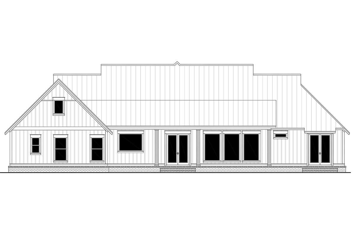 Country, Farmhouse, One-Story, Traditional Plan with 3086 Sq. Ft., 4 Bedrooms, 4 Bathrooms, 3 Car Garage Rear Elevation