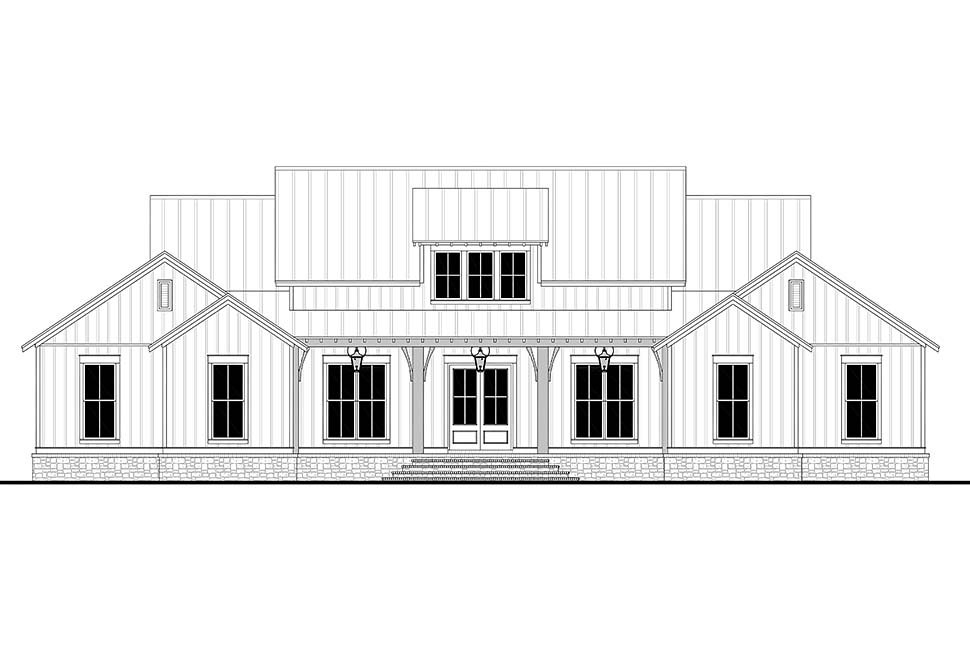 Country, Farmhouse, Southern, Traditional Plan with 2589 Sq. Ft., 3 Bedrooms, 3 Bathrooms, 2 Car Garage Picture 4