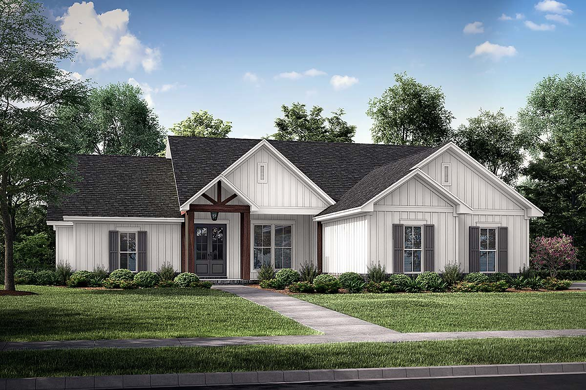 Country, Farmhouse, One-Story Plan with 1992 Sq. Ft., 4 Bedrooms, 2 Bathrooms, 2 Car Garage Elevation