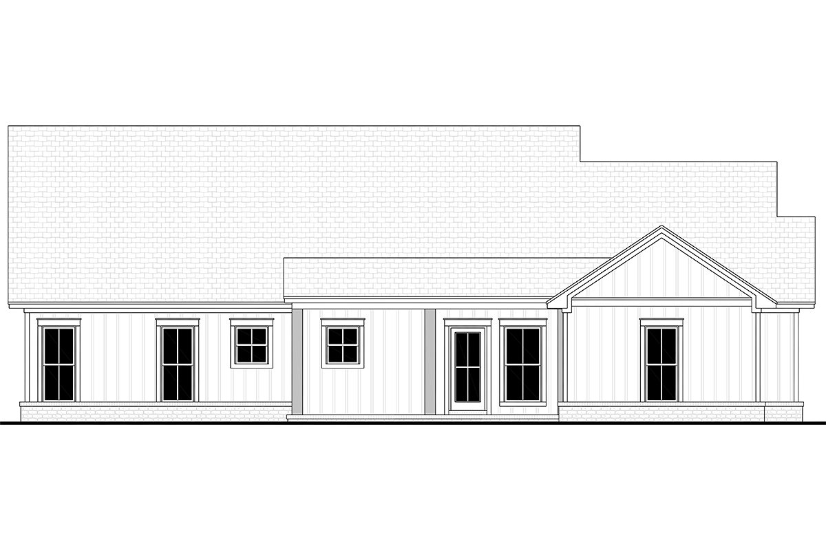 Country, Farmhouse, One-Story Plan with 1992 Sq. Ft., 4 Bedrooms, 2 Bathrooms, 2 Car Garage Rear Elevation