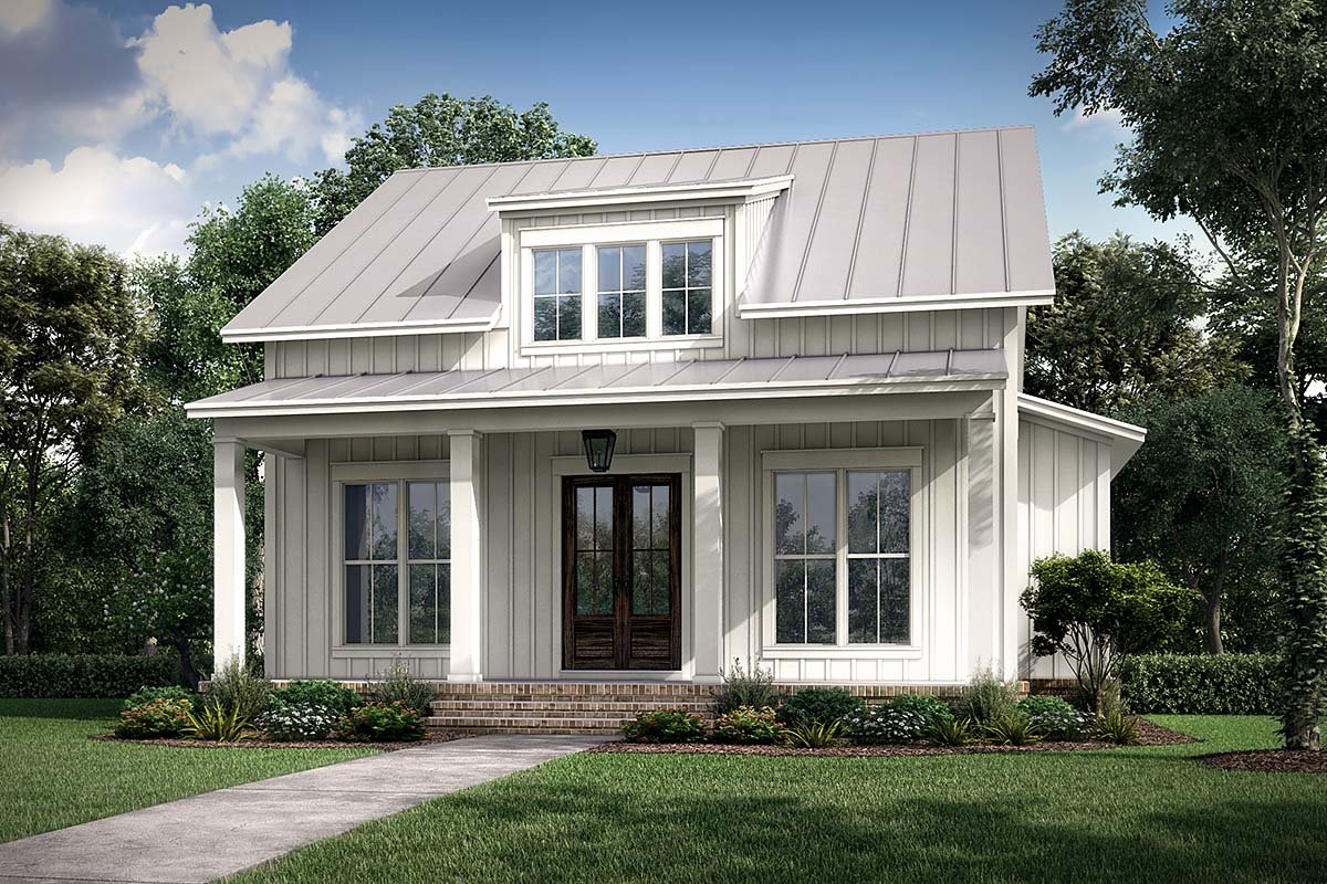 Cottage, Country, Farmhouse Plan with 1257 Sq. Ft., 2 Bedrooms, 2 Bathrooms Elevation