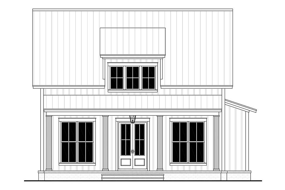 Cottage, Country, Farmhouse Plan with 1257 Sq. Ft., 2 Bedrooms, 2 Bathrooms Picture 4