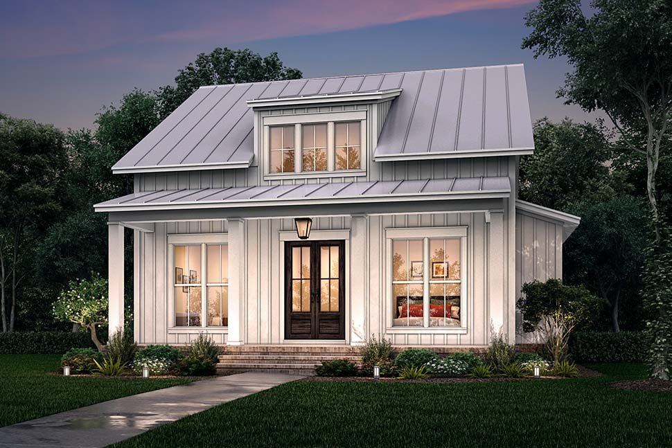 Cottage, Country, Farmhouse Plan with 1257 Sq. Ft., 2 Bedrooms, 2 Bathrooms Picture 5