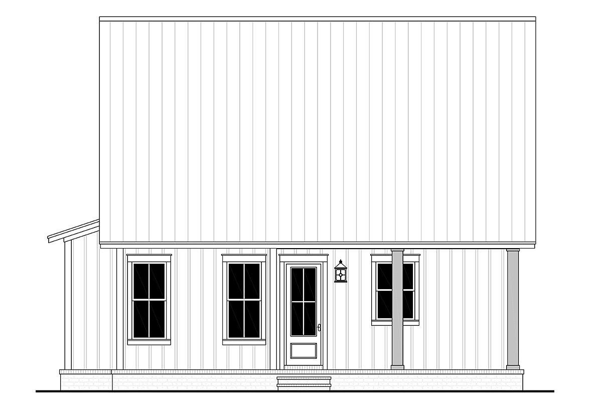 Cottage, Country, Farmhouse Plan with 1257 Sq. Ft., 2 Bedrooms, 2 Bathrooms Rear Elevation